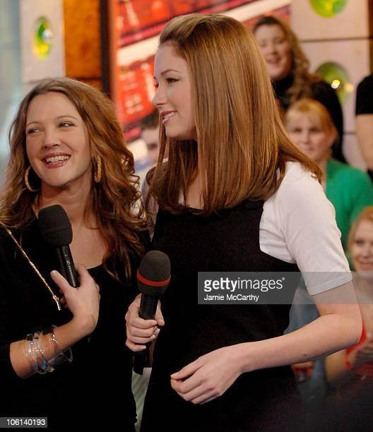 Drew Barrymore and Haley Bennett during Drew Barrymore and Haley Bennett Visit MTV's TRL February 14 2007 at MTV Studios in New York City New York...