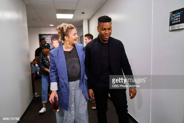 Drew Barrymore and John Boyega chat backstage during The Late Late Show with James Corden Wednesday March 21 2018 On The CBS Television Network