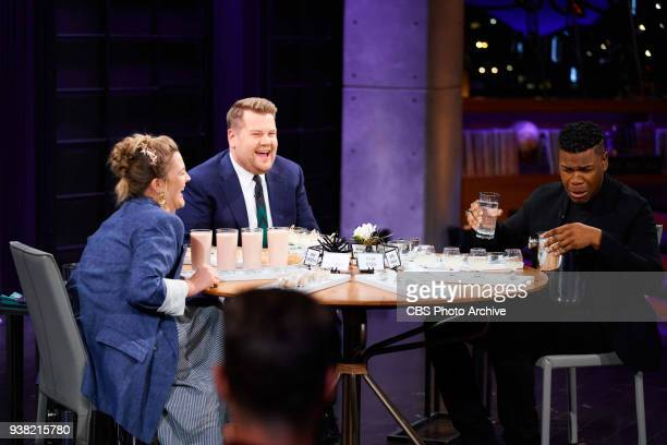 Drew Barrymore and John Boyega play Spill Your Guts or Fill Your Guts with James Corden during The Late Late Show with James Corden Wednesday March...