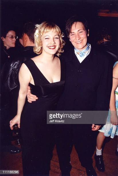 Drew Barrymore and kd lang during Barrymore '98 at Planet Hollywood in Hollywood California United States