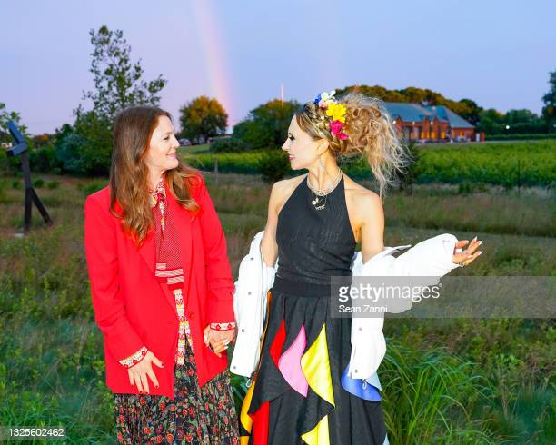 Drew Barrymore and Stacey Bendet attend alice + olivia Celebrates Pride With Prom at Parrish Art Museum on June 24, 2021 in Water Mill, New York.