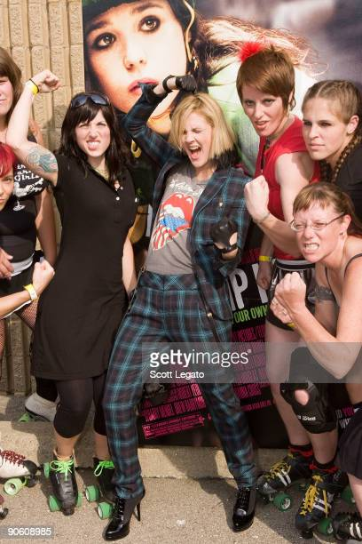Drew Barrymore and The Detroit Derby Girls promote Whip It with a free skating event at Bonaventure Skating Center on September 11 2009 in Farmington...