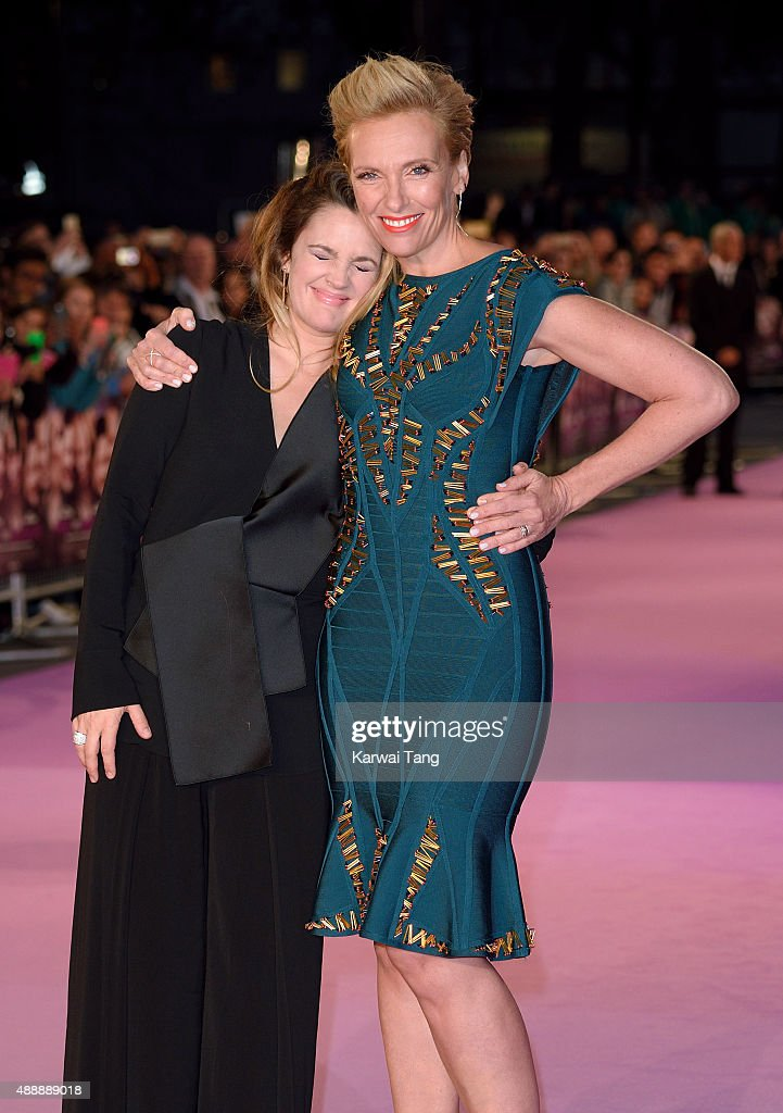 Drew Barrymore and Toni Collette attend the European Premiere of 'Miss You Already' at Vue West End on September 17, 2015 in London, England.