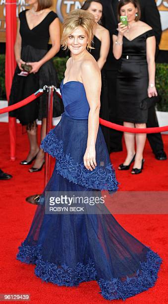 Drew Barrymore arrives at the 16th annual Screen Actors Guild Awards at the Shrine Exposition Center in Los Angeles January 23, 2010. AFP PHOTO /...