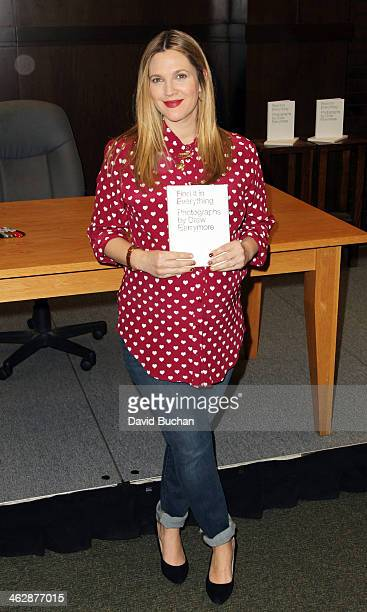 """Drew Barrymore attends a book signing for """"Find It In Everything"""" at Barnes & Noble Bookstore at The Grove on January 15, 2014 in Los Angeles,..."""