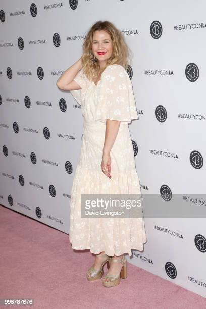 Drew Barrymore attends the Beautycon Festival LA 2018 at the Los Angeles Convention Center on July 14 2018 in Los Angeles California