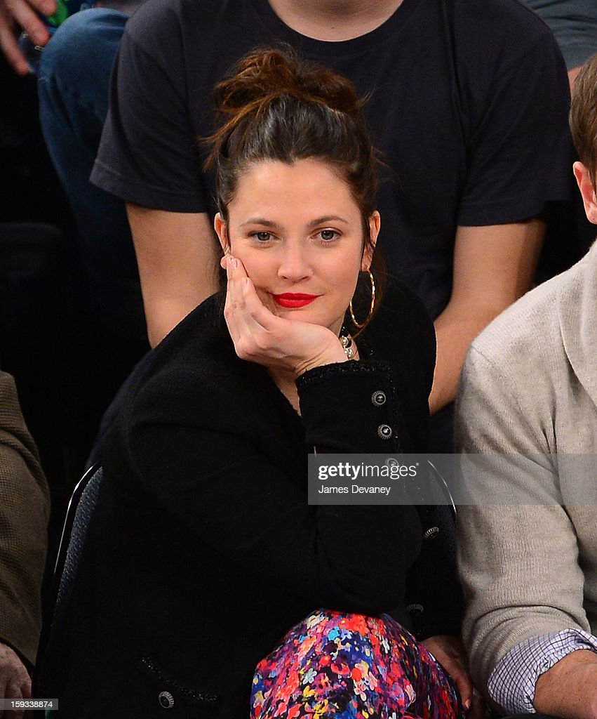Drew Barrymore attends the Chicago Bulls vs New York Knicks game at Madison Square Garden on January 11, 2013 in New York City.