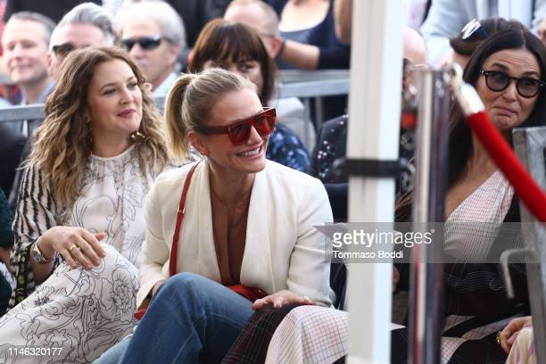 Drew Barrymore, Cameron Diaz and Demi Moore attend a ceremony honoring Lucy Liu With Star On The Hollywood Walk Of Fame on May 01, 2019 in Hollywood,...