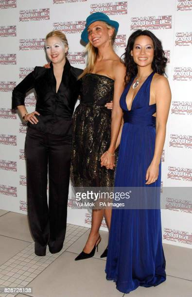 Drew Barrymore Cameron Diaz and Lucy Liu, arriving at The Odeon Leicester Square, London, for the UK premiere of Charlie's Angels: Full Throttle.