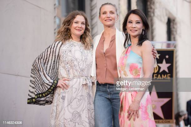 Drew Barrymore, Cameron Diaz, and Lucy Liu at Lucy Liu's Hollywood Walk of Fame star ceremony on May 01, 2019 in Hollywood, California.