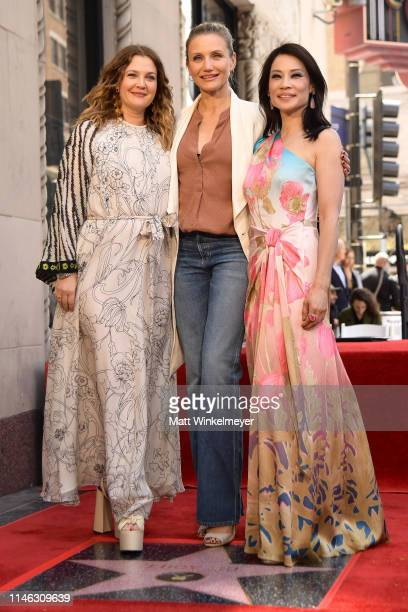 Drew Barrymore Cameron Diaz and Lucy Liu attend a ceremony honoring Liu with a star on the Hollywood Walk Of Fame on May 1 2019 in Hollywood...