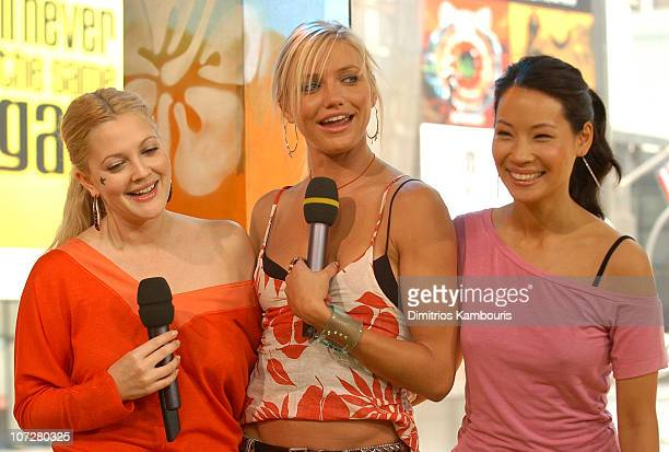 Drew Barrymore Cameron Diaz and Lucy Liu during 'Charlie's Angels Full Throttle' Cast and 'Terminator 3 Rise of the Machines' Kristanna Loken Visit...