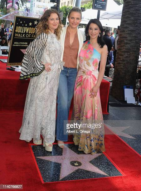 Drew Barrymore Cameron Diaz and Lucy Liu reunited as the 'Charlie's Angels' cast attend Lucy Liu's Star Cermony On The Hollywood Walk Of Fame held on...