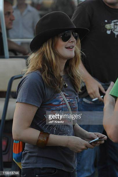Drew Barrymore during 2007 Coachella Valley Music and Arts Festival Day One Backstage at Empire Polo Field in Indio California United States
