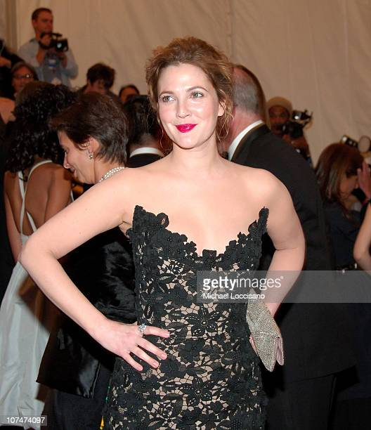 Drew Barrymore during 'AngloMania' Costume Institute Gala at The Metropolitan Museum of Art Arrivals Celebrating 'AngloMania Tradition and...