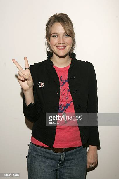 Drew Barrymore during Drew Barrymore Visits MTV's TRL September 21 2004 at MTV Studios Times Square in New York City New York United States