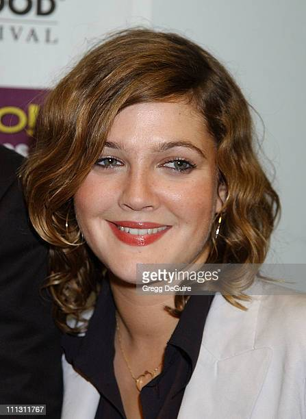 Drew Barrymore during Hollywood Film Festival's Hollywood Movie Awards Arrivals Backstage at Beverly Hilton Hotel in Beverly Hills California United...