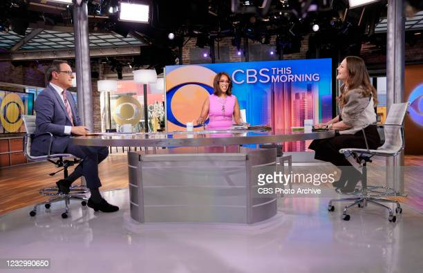 Drew Barrymore Guest Hosts on CBS This Morning with Co-Hosts Gayle King and Anthony Mason Live on May 17th, 2021.
