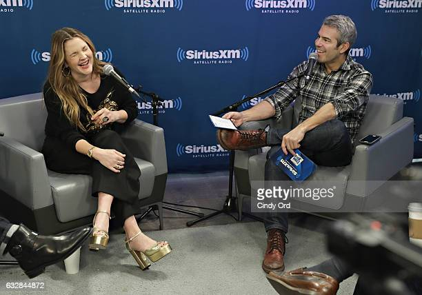 Drew Barrymore interviewed for SiriusXM's Town Hall to air on Andy Cohen's Exclusive SiriusXM Channel Radio Andy on January 27 2017 in New York City