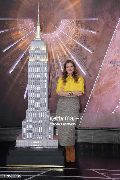 Drew Barrymore of The Drew Barrymore Show poses at The Empire State Building on September 14, 2020 in New York City.