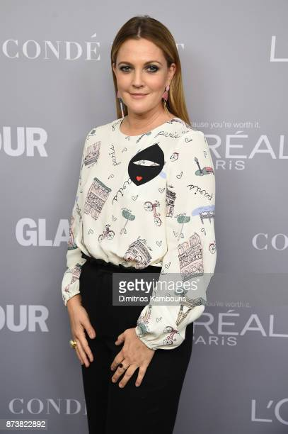 Drew Barrymore poses backstage at Glamour's 2017 Women of The Year Awards at Kings Theatre on November 13 2017 in Brooklyn New York