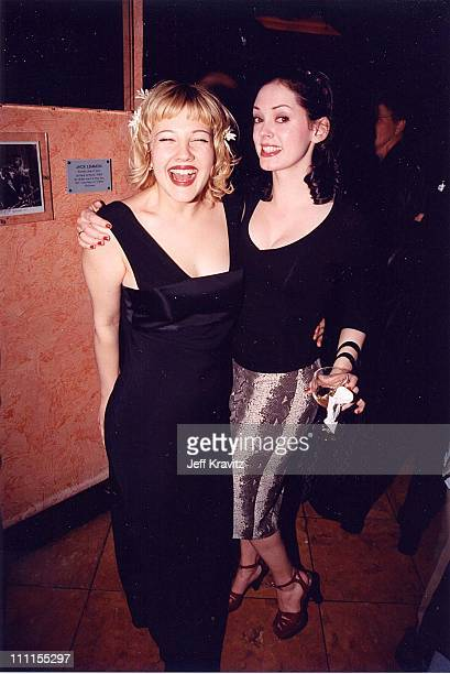 Drew Barrymore Rose McGowan during Barrymore '98 at Planet Hollywood in Hollywood California United States