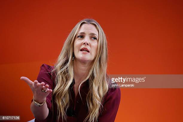 Drew Barrymore speaks onstage during the Building a Brand in a MobileFirst World panel on the Times Center Stage during 2016 Advertising Week New...