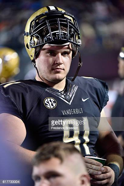 Drew Birchmeier of the Vanderbilt Commodores watches from the sideline during a game against the Tennessee State Tigers at Vanderbilt Stadium on...