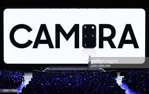 Drew Blackard Head of US Mobile Product Management speaks during the Samsung Galaxy Unpacked 2020 event in San Francisco California on February 11...
