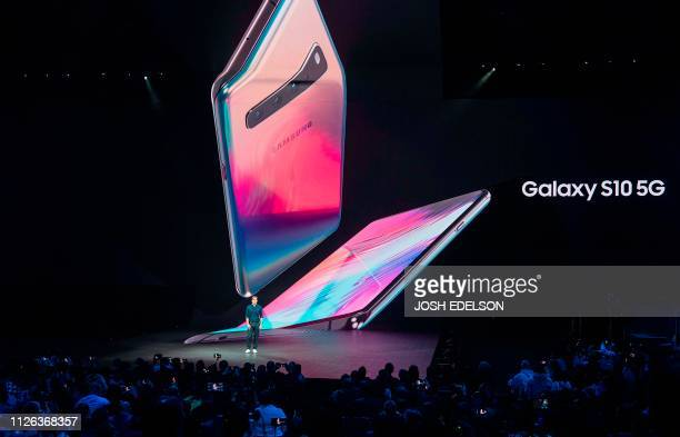 Drew Blackard product marketing manager for Samsung speaks on stage during the Samsung Unpacked product launch event in San Francisco California on...