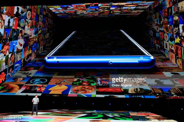 Drew Blackard Samsung's Senior Director of Product Marketing speaks about the new Samsung Galaxy Note 9 smartphone during a product launch event at...