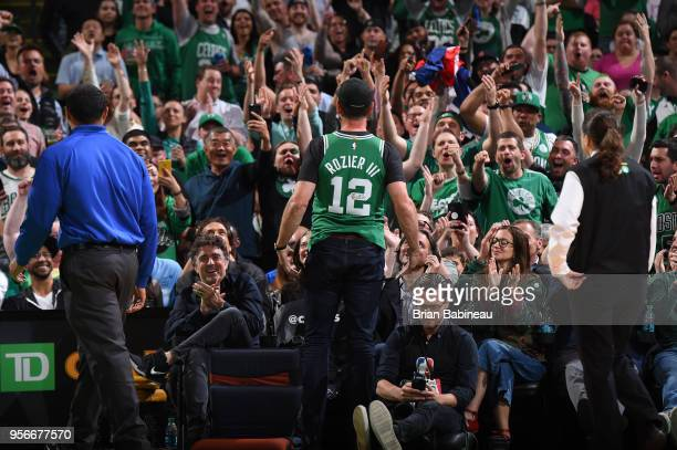 Drew Bledsoe addresses the crowd during the game against the Philadelphia 76ers in Game Five of the Eastern Conference Semifinals of the 2018 NBA...