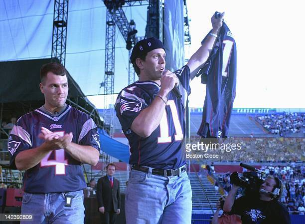 Drew Bledsoe and Adam Vanatieri wear the new design of New England Patriots jerseys on stage with the Mighty Mighty Bosstones during the WBCN River...