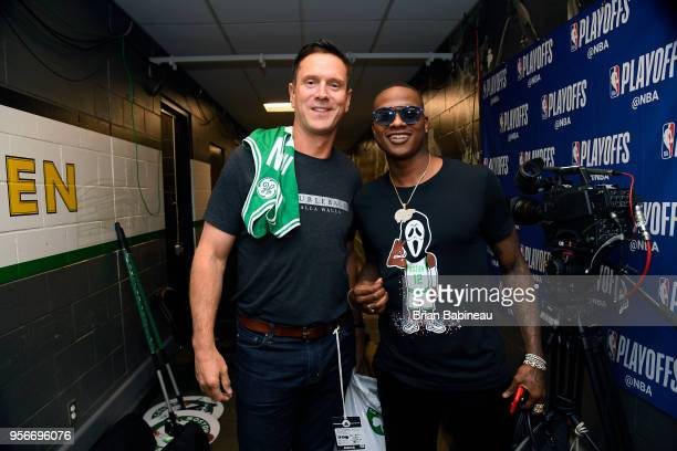 Drew Bledsoe and Terry Rozier of the Boston Celtics before the game against the Philadelphia 76ers in Game Five of the Eastern Conference Semifinals...