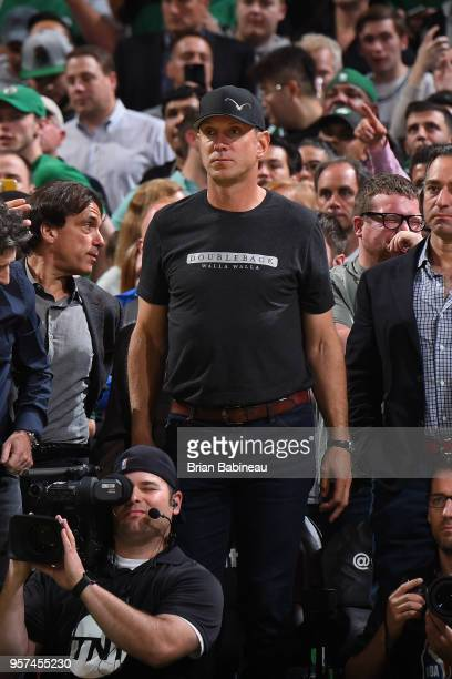 Drew Bledsoe attends a game between Boston Celtics and Philadelphia 76ers in Game Five of the Eastern Conference Semifinals of the 2018 NBA Playoffs...