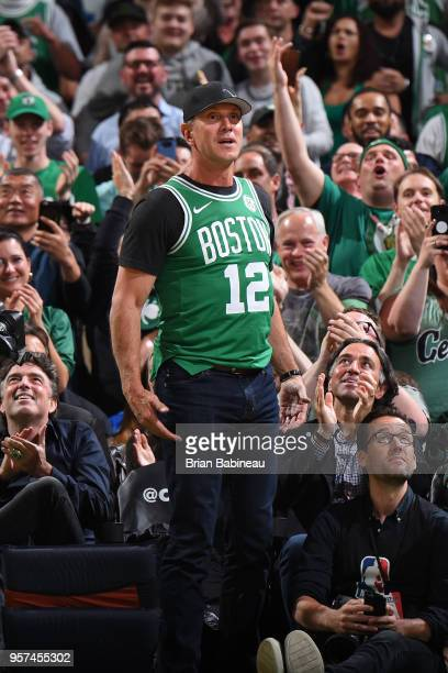 Drew Bledsoe attends a game between the Boston Celtics and Philadelphia 76ers in Game Five of the Eastern Conference Semifinals of the 2018 NBA...