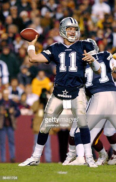 Drew Bledsoe of the Dallas Cowboys passes against the Washington Redskins on December 18 2005 in at FedEx Field in Landover Maryland