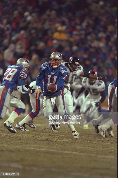 Drew Bledsoe of the New England Patriots during the Patriots 206 victory over the Jacksonville Jaguars in the aFC Championship Game