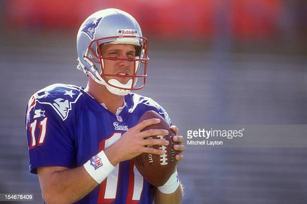 Drew Bledsoe of the New England Patriots warms up before a football game against the Buffalo Bills on October 12 1997 at Gillette Stadium in Foxsboro...