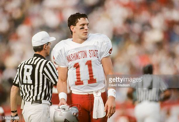 Drew Bledsoe of the Washington State Cougars walks off the field during a PAC 10 football game against the Stanford Cardinal played on November 14...
