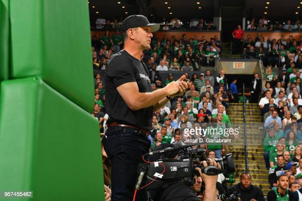 Drew Bledsoe reacts during a game between Boston Celtics and Philadelphia 76ers during Game Five of the Eastern Conference Semifinals of the 2018 NBA...