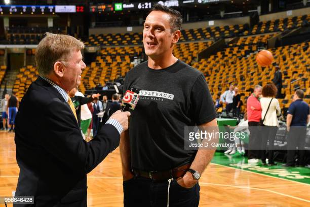 Drew Bledsoe speaks with media before the game between the Philadelphia 76ers and the Boston Celtics during Game Five of the Eastern Conference...