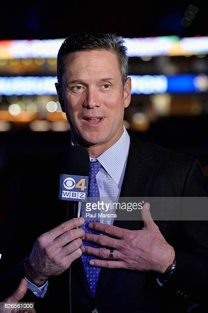 Drew Bledsoe speaks with press at the 15th Annual Sports Museum Tradition Awards Ceremony at TD Garden on November 29 2016 in Boston Massachusetts