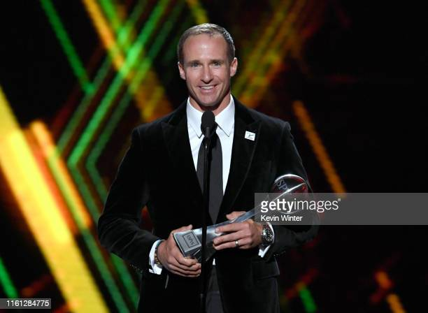 Drew Brees accepts the Record Breaker award onstage during The 2019 ESPYs at Microsoft Theater on July 10, 2019 in Los Angeles, California.