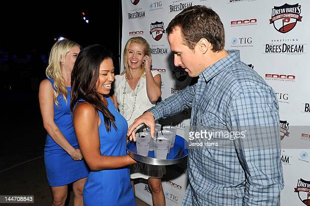 Drew Brees and Brittany Brees celebrate the start of the Drew Brees Celebrity Championship with GREY GOOSE¨ Vodka on May 17 2012 in San Diego...