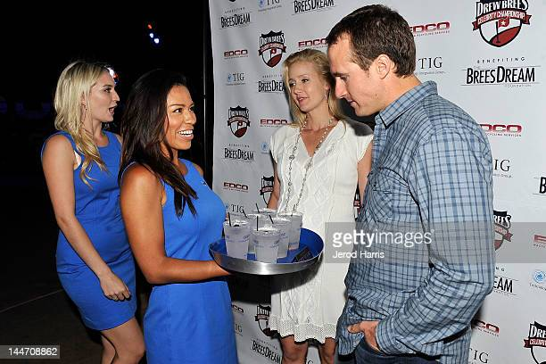 Drew Brees and Brittany Brees celebrate the start of the Drew Brees Celebrity Championship with GREY GOOSE¨ Vodka on May 17, 2012 in San Diego,...