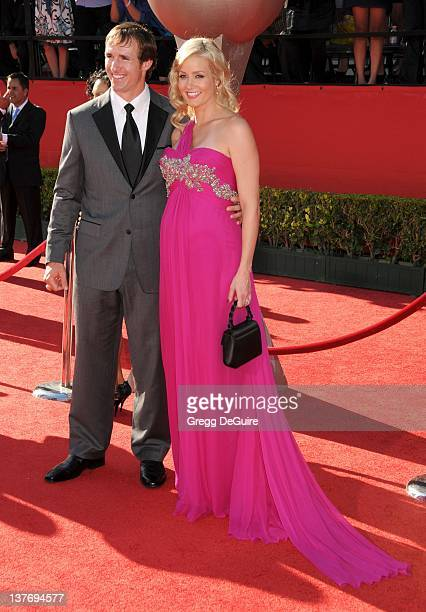 Drew Brees and wife Brittany Brees arrive at the 2010 ESPY Awards at the Nokia Theatre LA Live on July 14 2010 in Los Angeles California