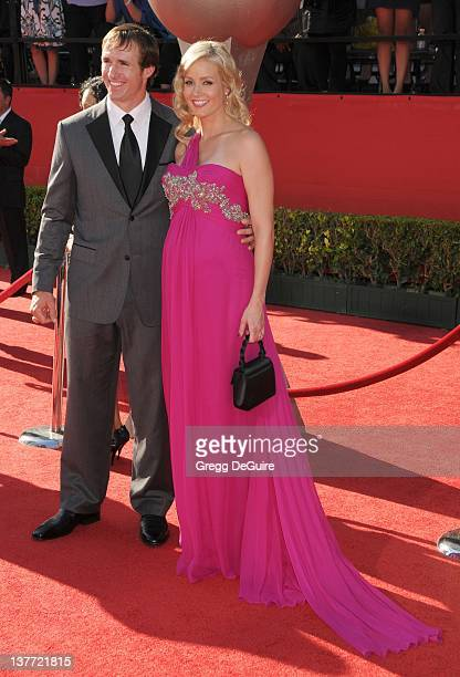 Drew Brees and wife Brittany Brees arrive at the 2010 ESPY Awards at the Nokia Theatre L.A. Live on July 14, 2010 in Los Angeles, California.