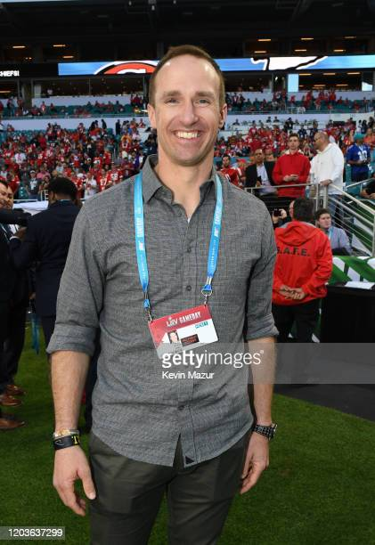 Drew Brees attends the Super Bowl LIV Pregame at Hard Rock Stadium on February 02 2020 in Miami Gardens Florida