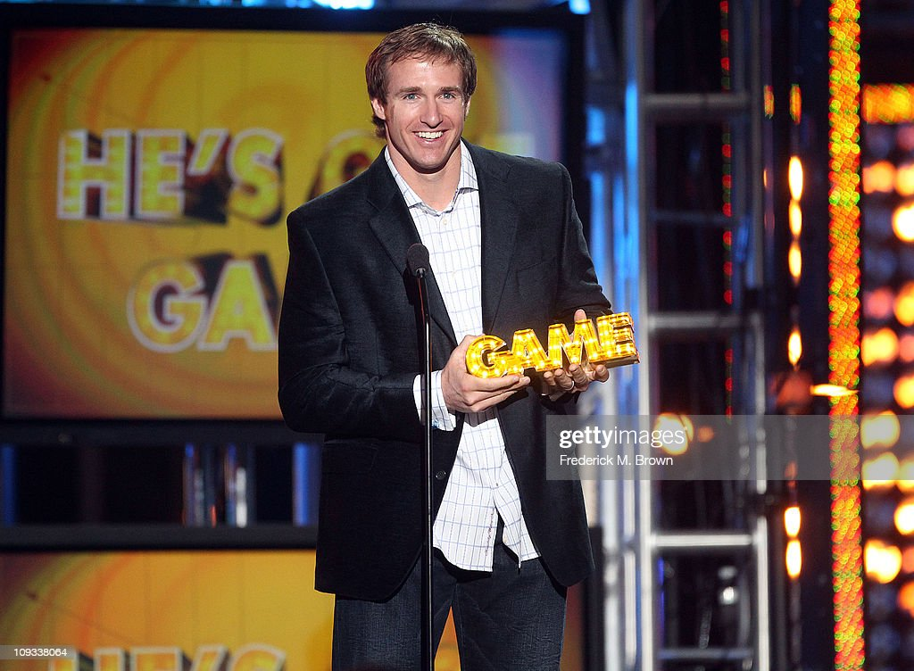 Drew Brees of the National Football League speaks during the First Annual Cartoon Network's 'Hall of Game' award show at the Barker Hanger on February 21, 2011 in Santa Monica, California.